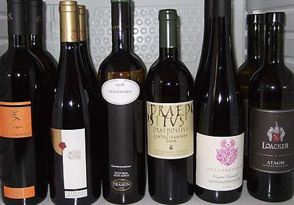 Weinverkostung Südtirol: Pinot Bianco Sauvignon Blanc und Gewürztraminer